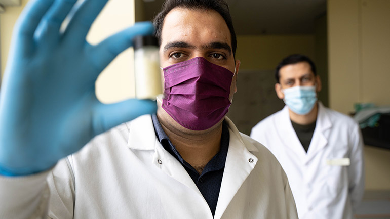 UBCO researchers Farhad Ahmadijokani and Mohammad Arjmand have developed a cost-effective material that can help remove toxic chemicals, like cancer-treatment drugs, from water supplies.