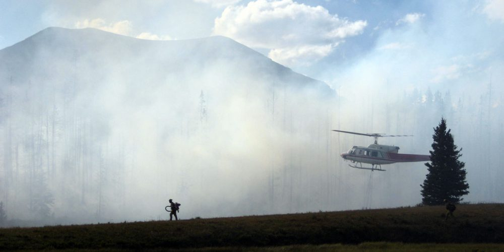 Helicopter fighting a forest fire