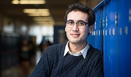 Kelowna, British Columbia - UBCO student, Shimshon Obadia, poses on location for UBCO promo campaign featuring 8 student profiles. AD - Margo Yacheshyn, BFA