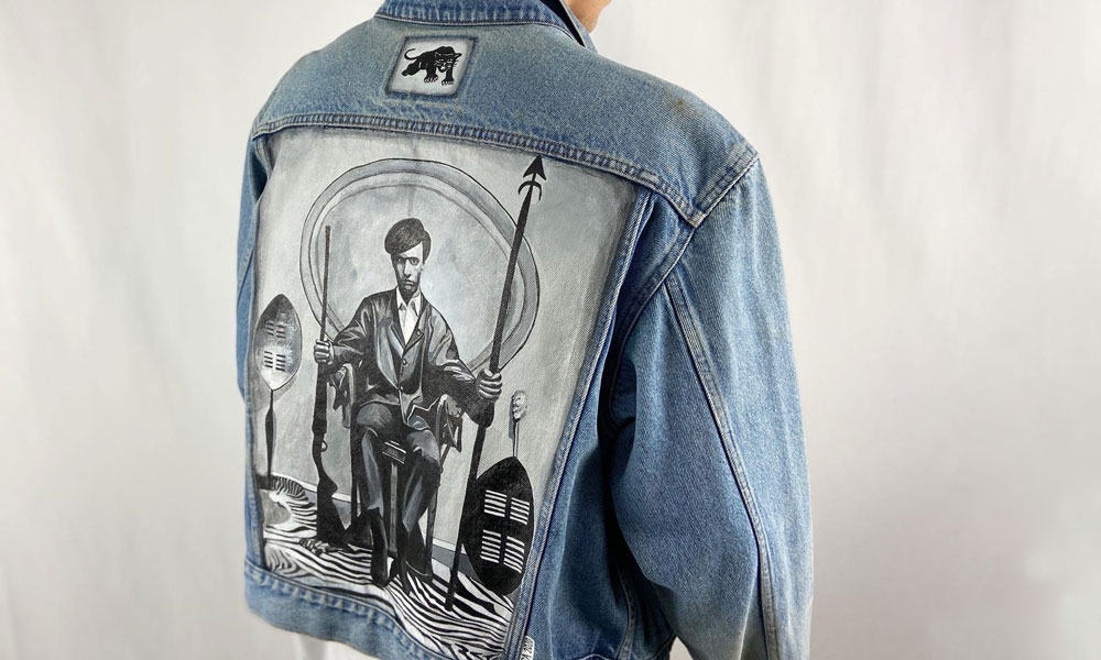 A denim jacket Ben Arcega painted