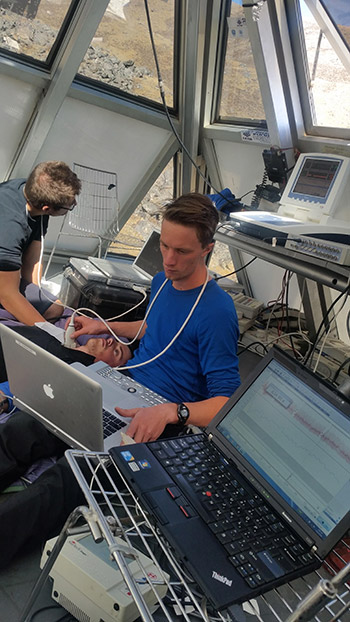 Dr. Joshua Tremblay conducts research at the Everest Pyramid Laboratory which is at an altitude of about 5,050 metres.