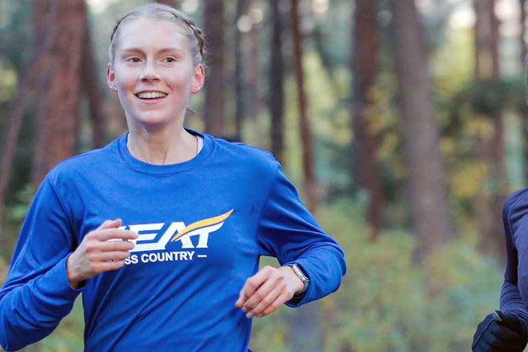 UBCO Heat cross country athlete Emma Kearns is one of many student athletes who benefit from contributions from the community.