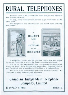 Rural telephone ad from 1909