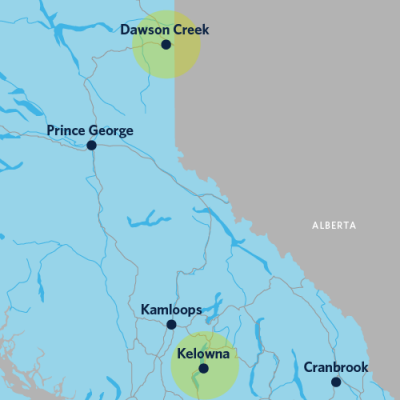 A map showing Dawson Creek and Kelowna, with a large distance between the two