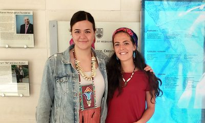 Smith with a fellow Indigenous student from residence